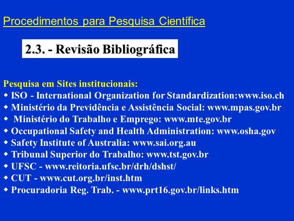 Procedimentos para Pesquisa Científica 2.3. - Revisão Bibliográfica Pesquisa em Sites institucionais: ISO - International Organization for Standardiza