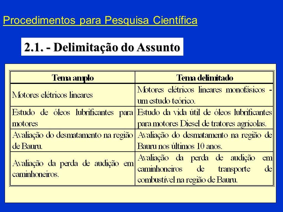 Procedimentos para Pesquisa Científica 2.2.