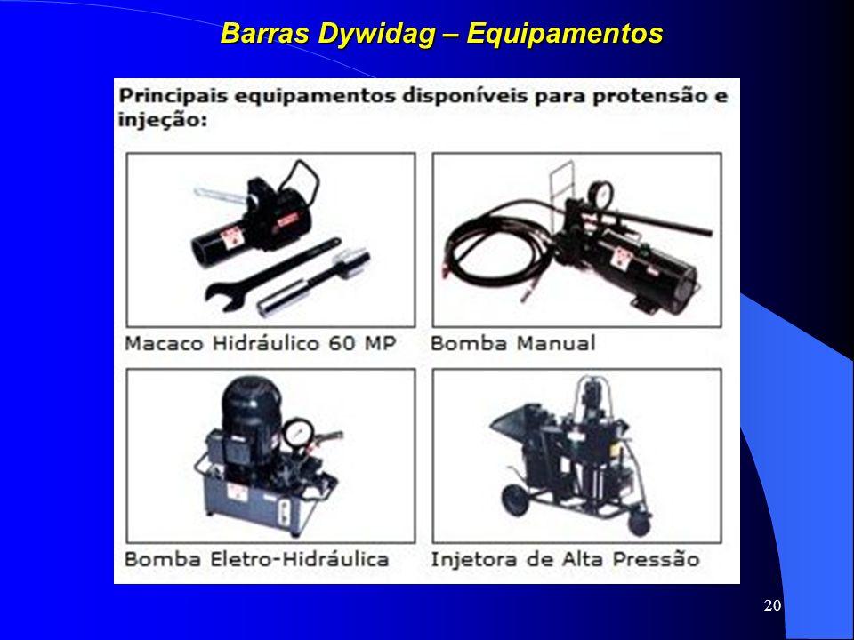 20 Barras Dywidag – Equipamentos
