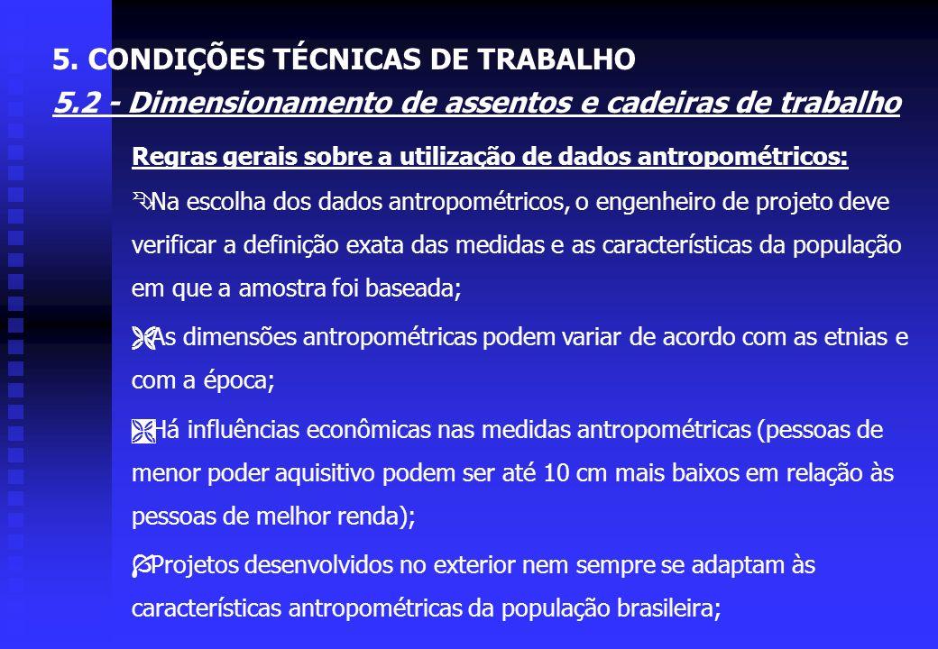 5. CONDIÇÕES TÉCNICAS DE TRABALHO 5.2 - Dimensionamento de assentos e cadeiras de trabalho Ï O espaldar deve ter uma almofada lombar bem formada, na r