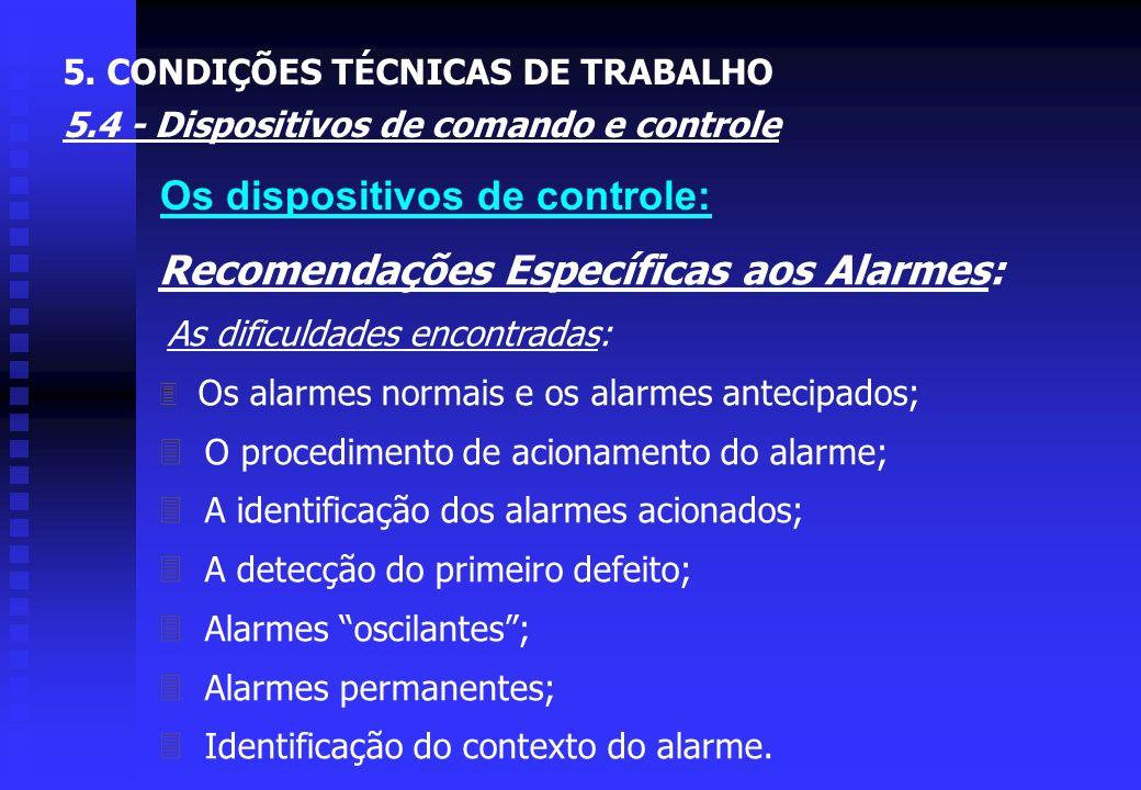 Recomendações Específicas aos Alarmes: As funções de um alarme: Ê Chamar a atenção; Ë Assinalar que um objetivo foi atingido; Ì Dar uma indicação glob