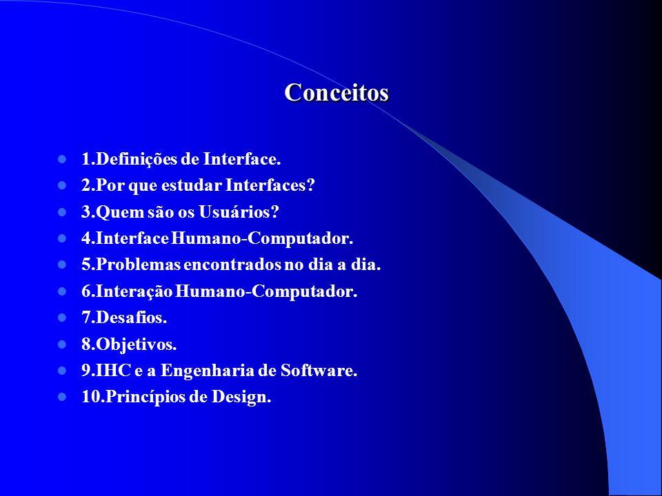 Conceitos Conceitos 1.Definições de Interface. 2.Por que estudar Interfaces? 3.Quem são os Usuários? 4.Interface Humano-Computador. 5.Problemas encont