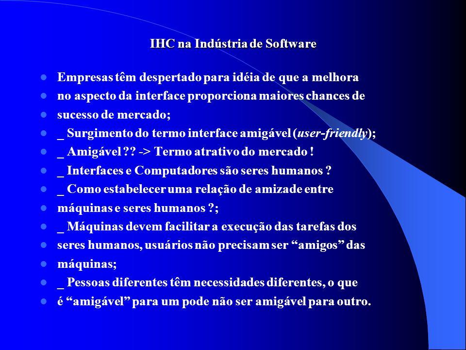 IHC na Indústria de Software Empresas têm despertado para idéia de que a melhora no aspecto da interface proporciona maiores chances de sucesso de mer