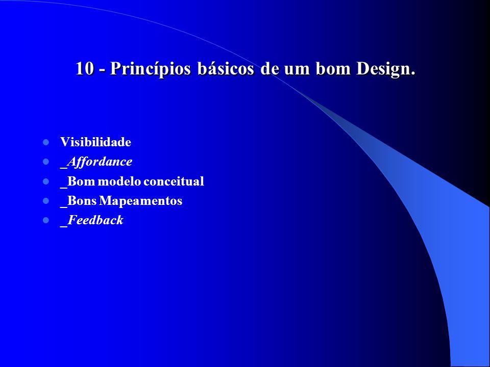 10 - Princípios básicos de um bom Design. Visibilidade _Affordance _Bom modelo conceitual _Bons Mapeamentos _Feedback