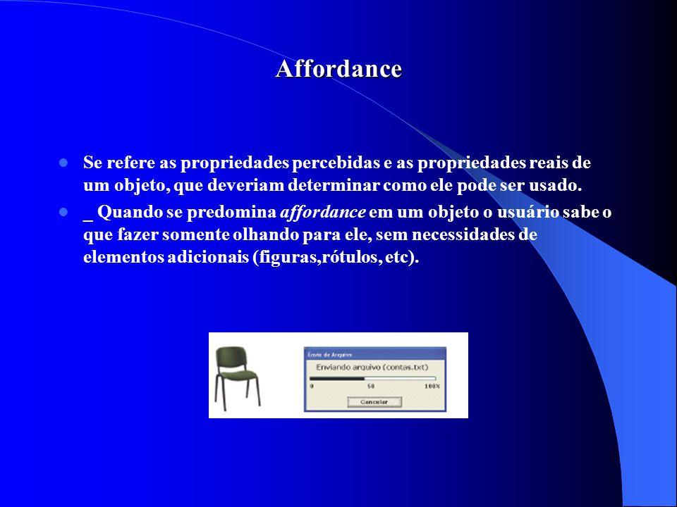 Affordance Se refere as propriedades percebidas e as propriedades reais de um objeto, que deveriam determinar como ele pode ser usado. _ Quando se pre