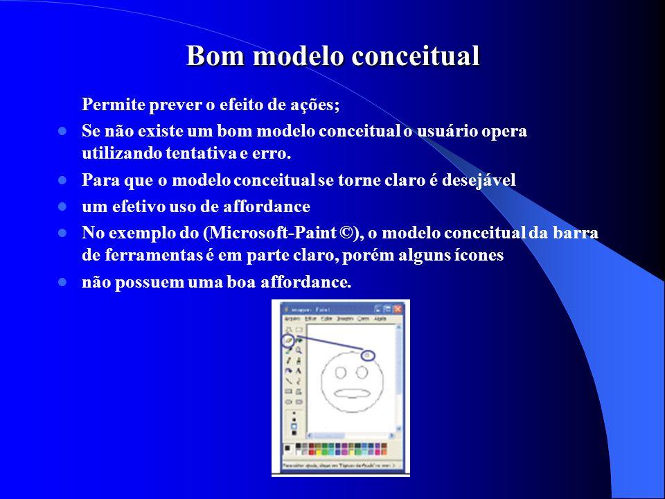 Bom modelo conceitual Permite prever o efeito de ações; Se não existe um bom modelo conceitual o usuário opera utilizando tentativa e erro. Para que o