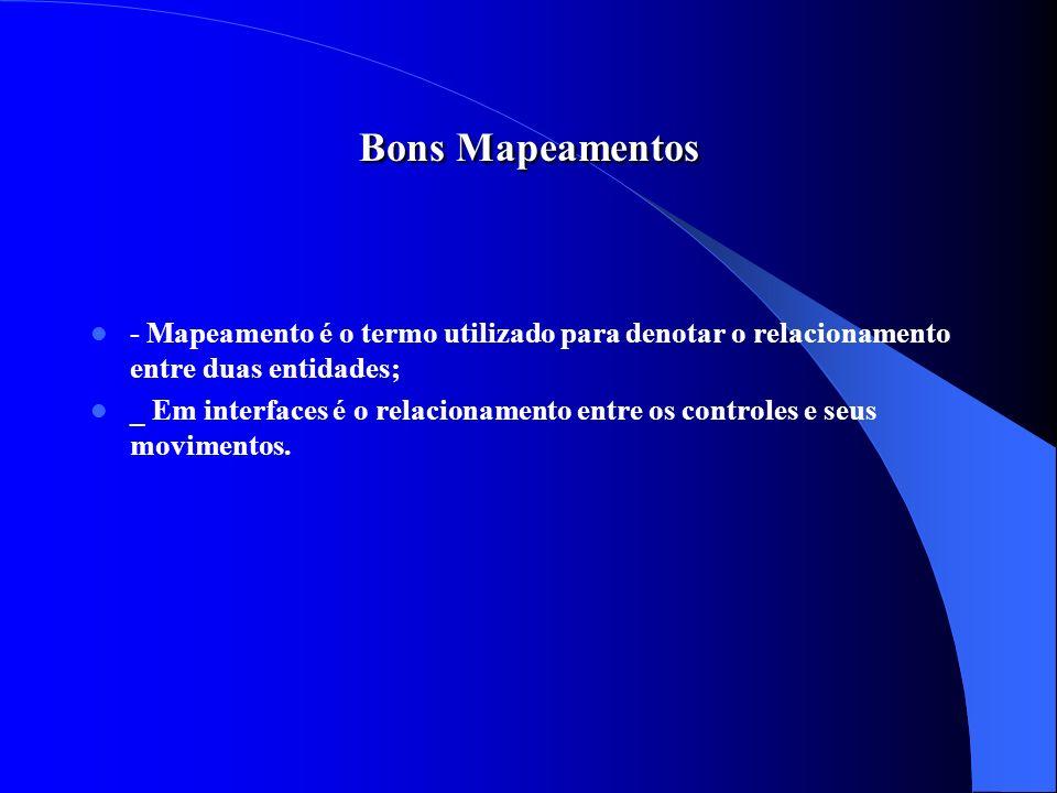 Bons Mapeamentos - Mapeamento é o termo utilizado para denotar o relacionamento entre duas entidades; _ Em interfaces é o relacionamento entre os cont
