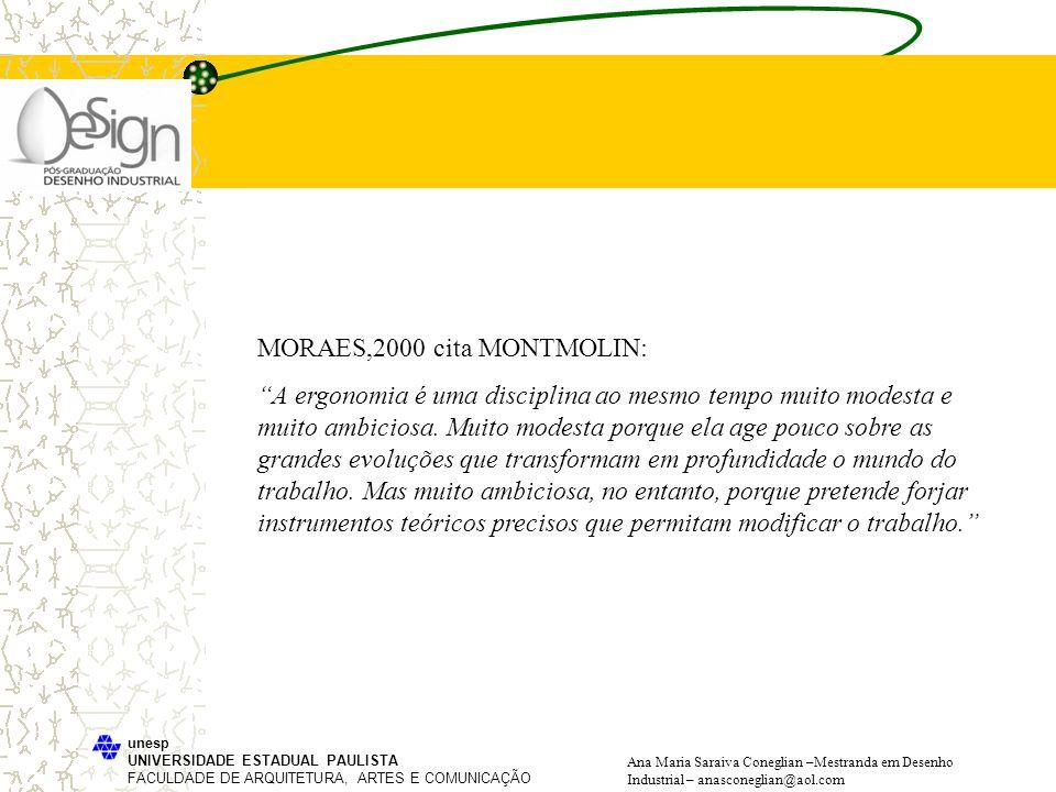 MORAES,2000 cita MONTMOLIN: A ergonomia é uma disciplina ao mesmo tempo muito modesta e muito ambiciosa. Muito modesta porque ela age pouco sobre as g