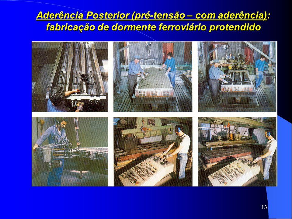 13 Aderência Posterior (pré-tensão – com aderência): fabricação de dormente ferroviário protendido