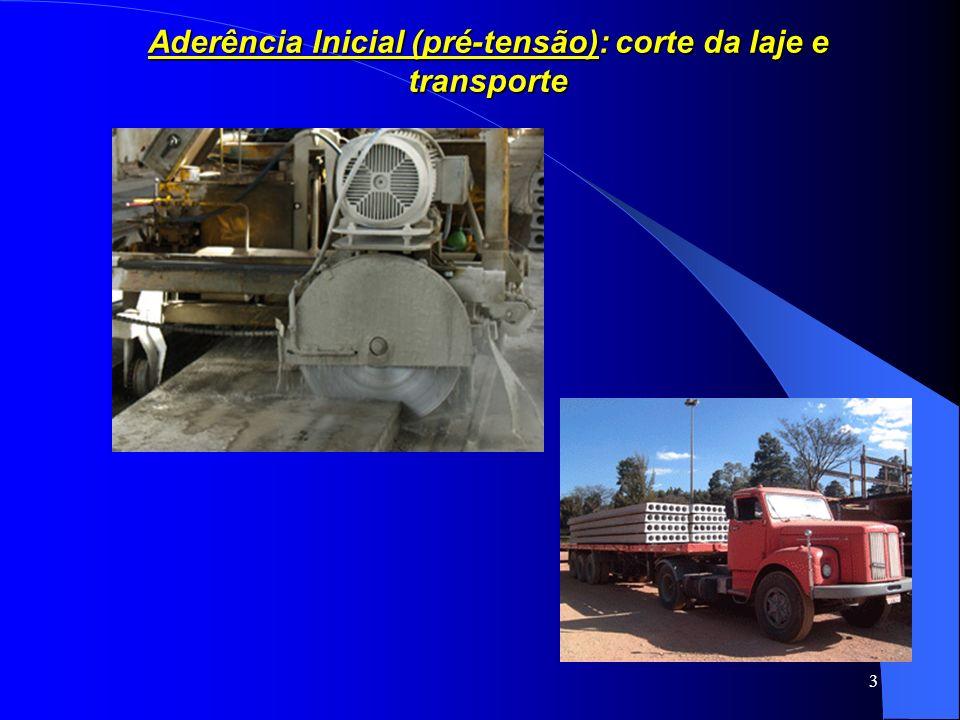 3 Aderência Inicial (pré-tensão): corte da laje e transporte