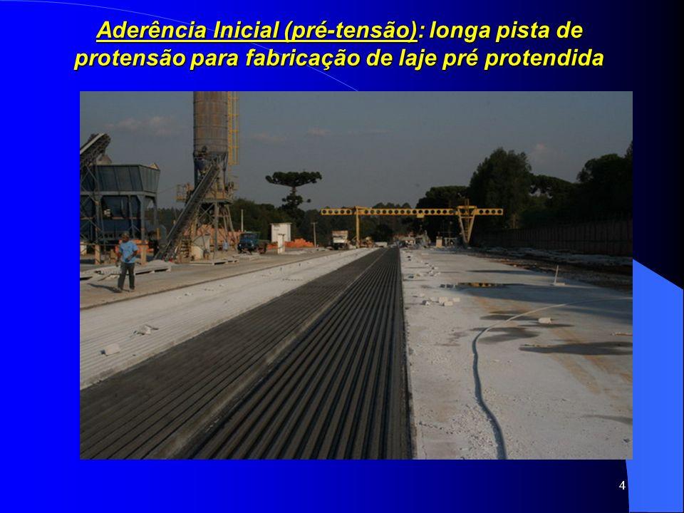 4 Aderência Inicial (pré-tensão): longa pista de protensão para fabricação de laje pré protendida