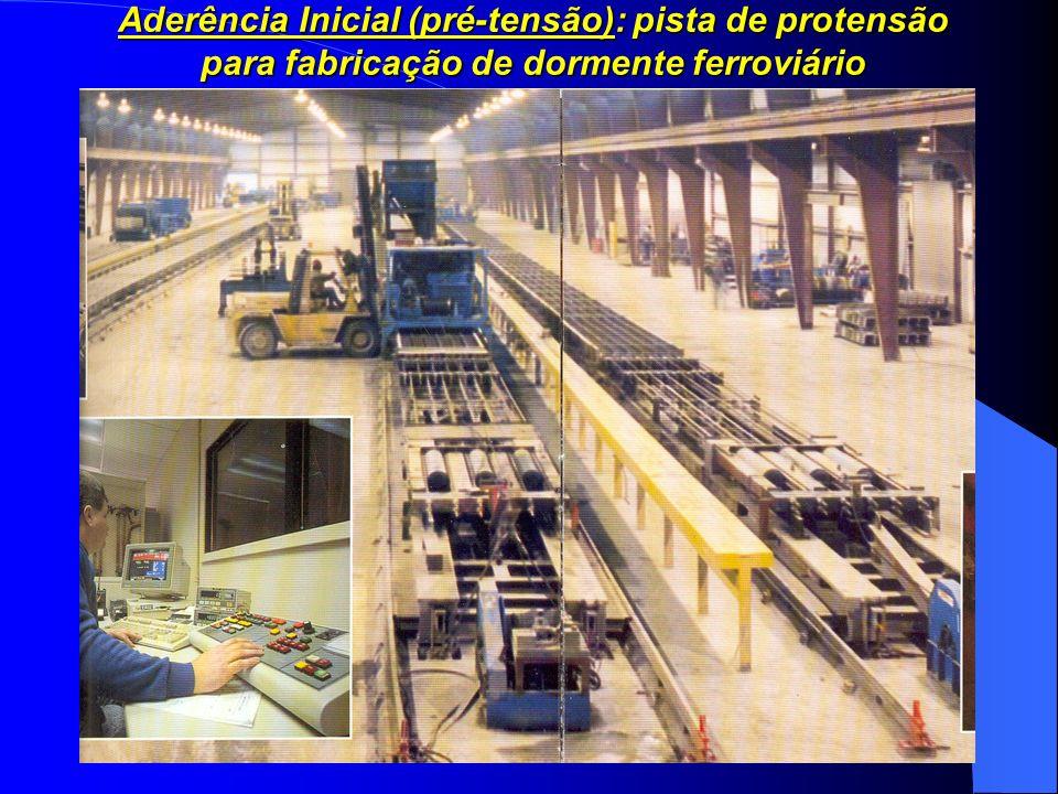 8 Aderência Inicial (pré-tensão): pista de protensão para fabricação de dormente ferroviário