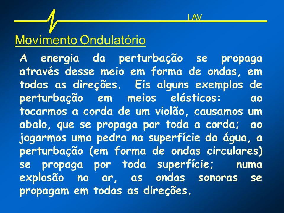 Movimento Ondulatório A energia da perturbação se propaga através desse meio em forma de ondas, em todas as direções. Eis alguns exemplos de perturbaç