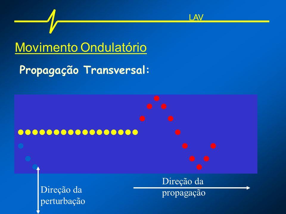 Movimento Ondulatório Propagação Transversal: Direção da perturbação Direção da propagação LAV