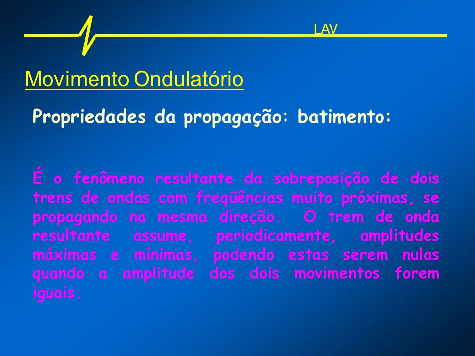 Movimento Ondulatório Propriedades da propagação: batimento: É o fenômeno resultante da sobreposição de dois trens de ondas com freqüências muito próx