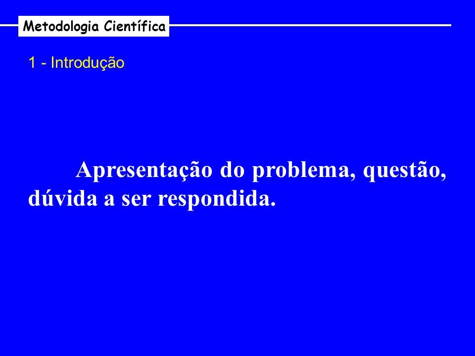 Metodologia Científica 1 - Introdução Apresentação do problema, questão, dúvida a ser respondida.