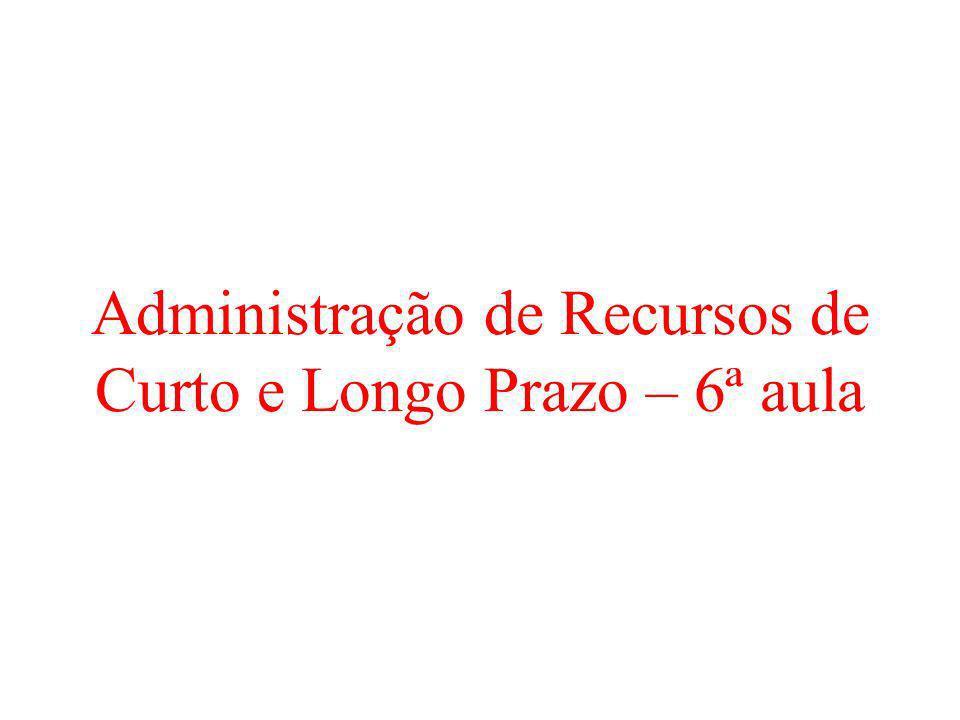 Administração de Recursos de Curto e Longo Prazo – 6ª aula