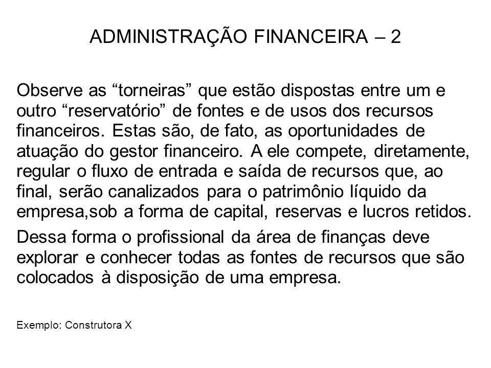ADMINISTRAÇÃO FINANCEIRA – 2 Observe as torneiras que estão dispostas entre um e outro reservatório de fontes e de usos dos recursos financeiros. Esta