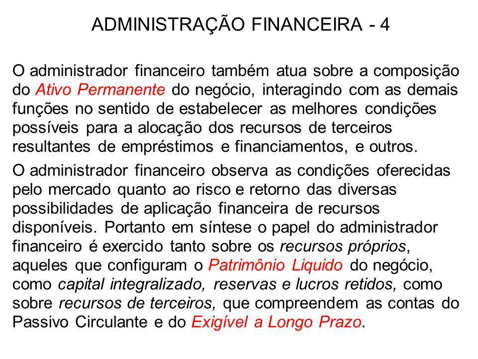ADMINISTRAÇÃO FINANCEIRA - 4 O administrador financeiro também atua sobre a composição do Ativo Permanente do negócio, interagindo com as demais funçõ