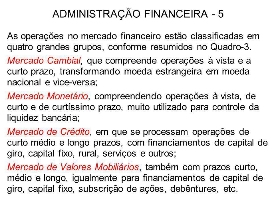 ADMINISTRAÇÃO FINANCEIRA - 5 As operações no mercado financeiro estão classificadas em quatro grandes grupos, conforme resumidos no Quadro-3. Mercado