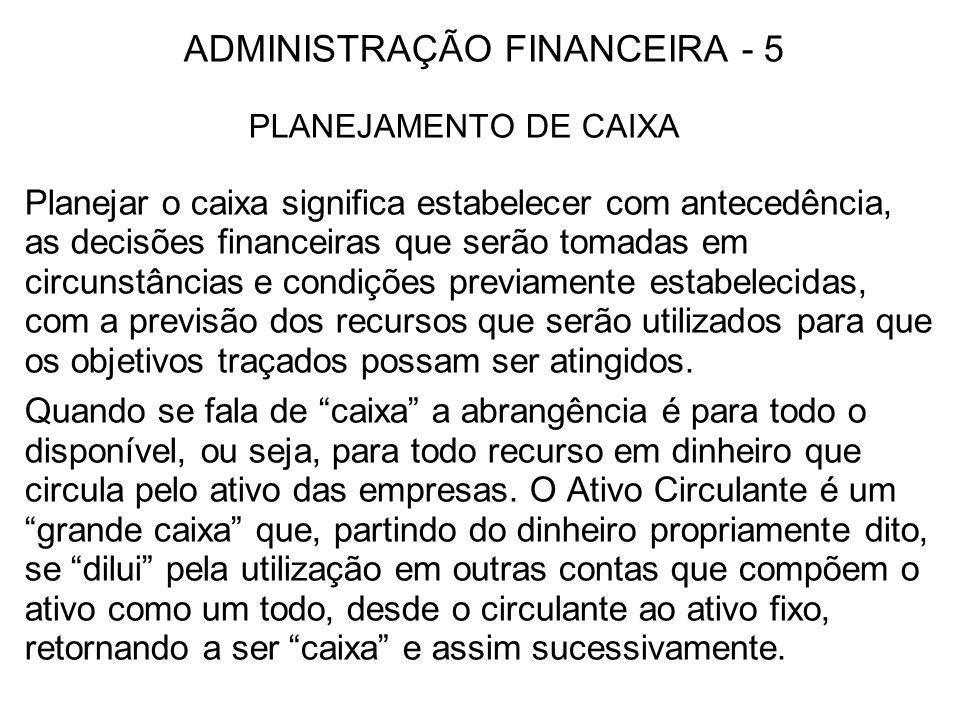 ADMINISTRAÇÃO FINANCEIRA - 5 PLANEJAMENTO DE CAIXA Planejar o caixa significa estabelecer com antecedência, as decisões financeiras que serão tomadas