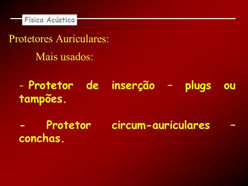 Física Acústica Protetores Auriculares: - Protetor de inserção – plugs ou tampões. - Protetor circum-auriculares – conchas. Mais usados:
