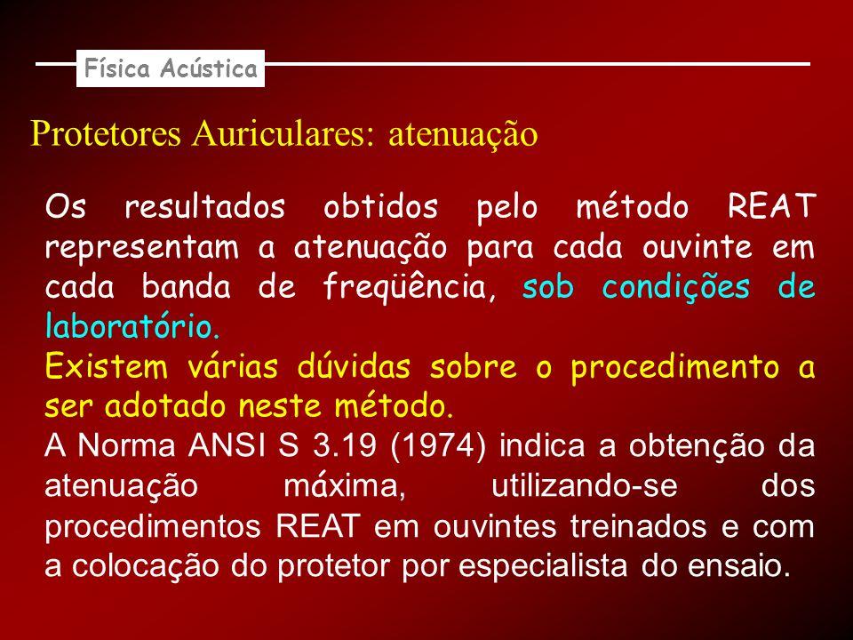Física Acústica Protetores Auriculares: atenuação Os resultados obtidos pelo método REAT representam a atenuação para cada ouvinte em cada banda de fr