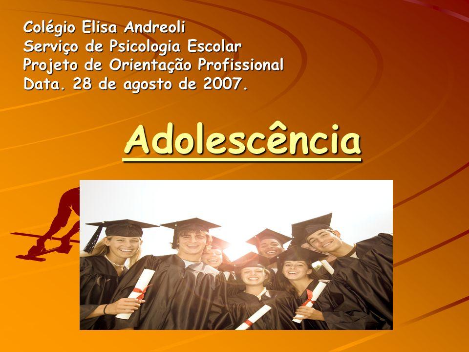 Adolescência Colégio Elisa Andreoli Serviço de Psicologia Escolar Projeto de Orientação Profissional Data.