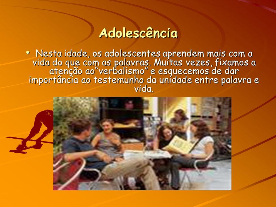 Adolescência Nesta idade, os adolescentes aprendem mais com a vida do que com as palavras.