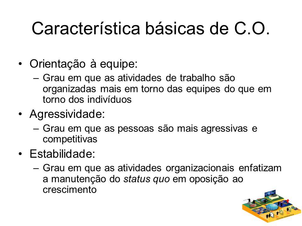 Característica básicas de C.O. Orientação à equipe: –Grau em que as atividades de trabalho são organizadas mais em torno das equipes do que em torno d