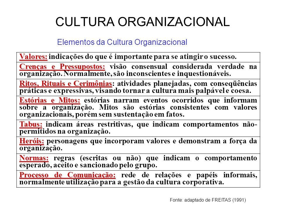 Cultura Organizacional - Conceitos Sistema de significados comuns aos membros de uma organização Possibilita distinguir uma organização da outra Conjunto de características fundamentais à uma organização Indivíduos com diferentes antecedentes ou em níveis diferentes na hierarquia tendem a descrever a cultura da organização em termos similares