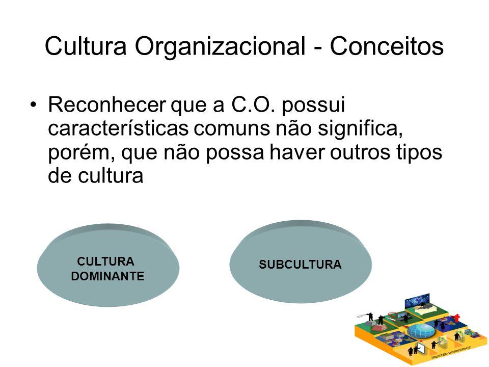 Cultura Organizacional - Conceitos Reconhecer que a C.O. possui características comuns não significa, porém, que não possa haver outros tipos de cultu