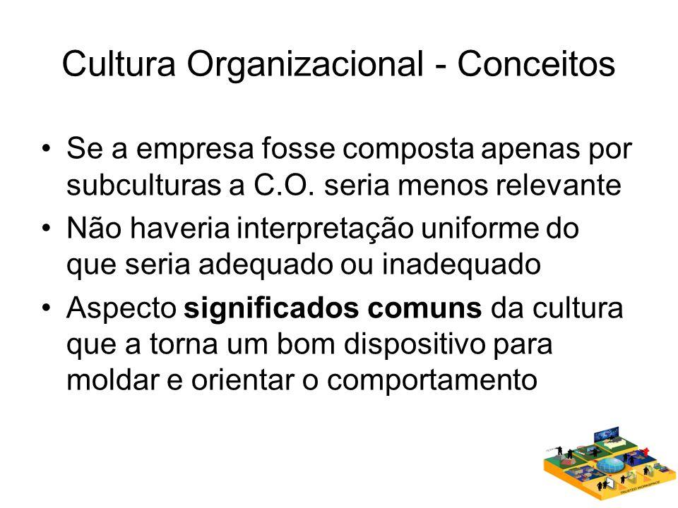 Cultura Organizacional - Conceitos Se a empresa fosse composta apenas por subculturas a C.O. seria menos relevante Não haveria interpretação uniforme