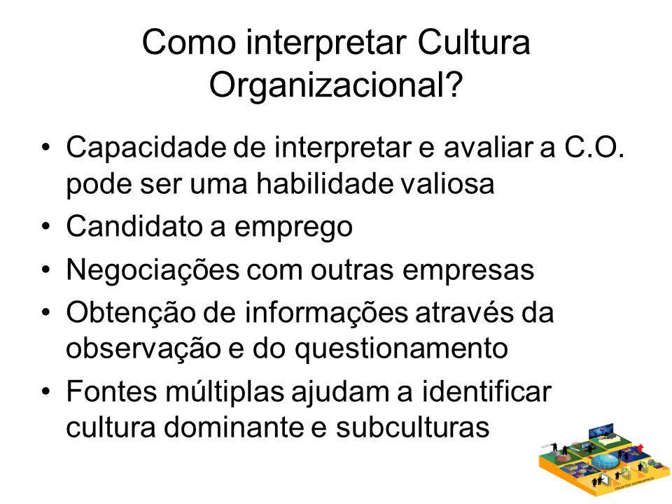 Como interpretar Cultura Organizacional.