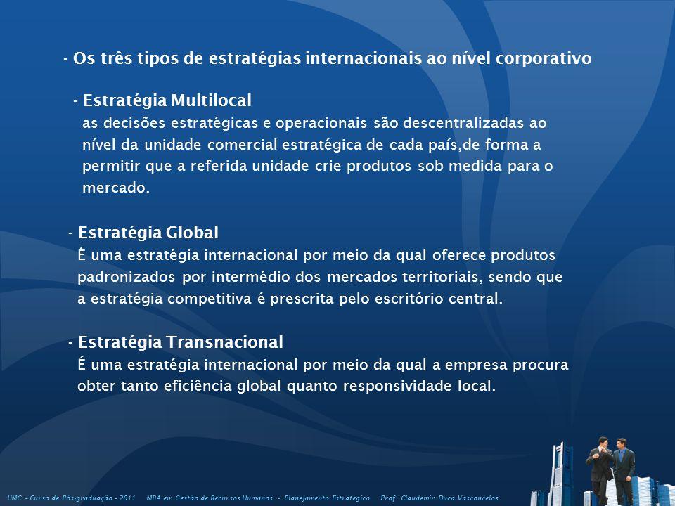 - Os três tipos de estratégias internacionais ao nível corporativo - Estratégia Multilocal as decisões estratégicas e operacionais são descentralizada