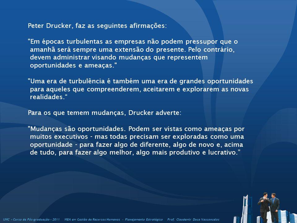 UMC – Curso de Pós-graduação – 2011 MBA em Gestão de Recursos Humanos - Planejamento Estratégico Prof. Claudemir Duca Vasconcelos Peter Drucker, faz a