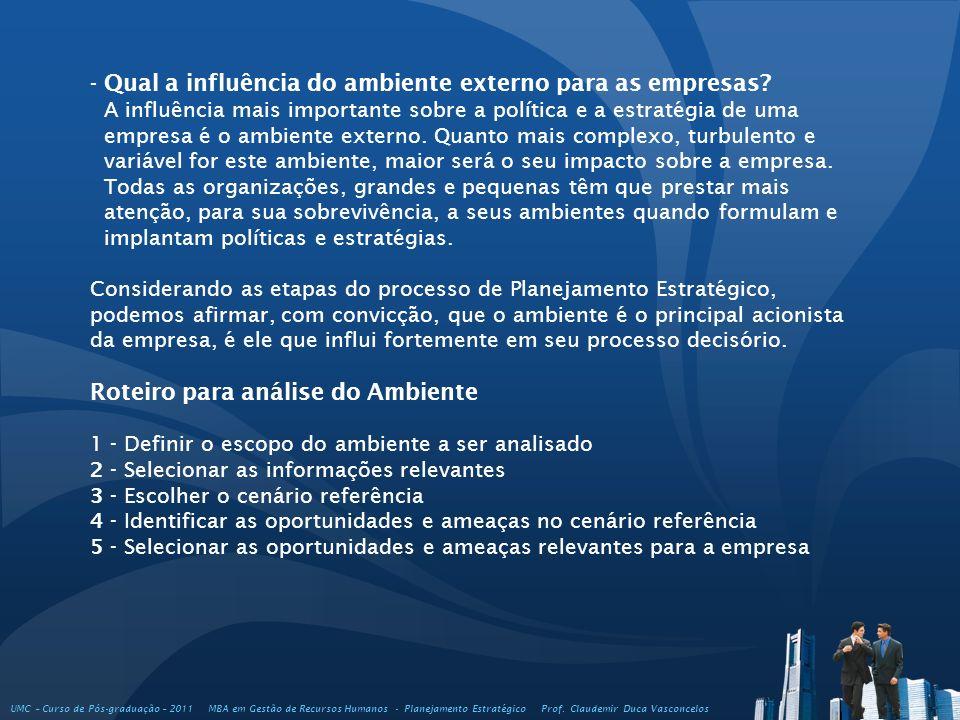 UMC – Curso de Pós-graduação – 2011 MBA em Gestão de Recursos Humanos - Planejamento Estratégico Prof. Claudemir Duca Vasconcelos - Qual a influência