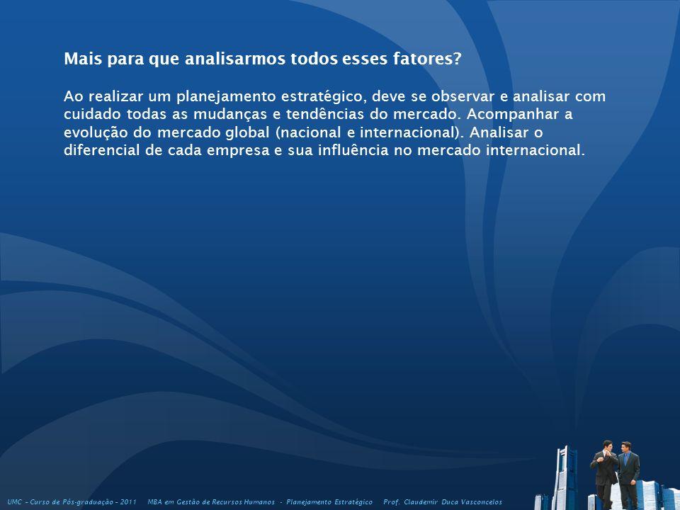 UMC – Curso de Pós-graduação – 2011 MBA em Gestão de Recursos Humanos - Planejamento Estratégico Prof. Claudemir Duca Vasconcelos Mais para que analis