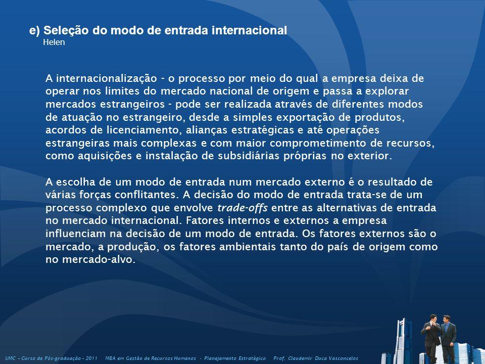 e) Seleção do modo de entrada internacional Helen UMC – Curso de Pós-graduação – 2011 MBA em Gestão de Recursos Humanos - Planejamento Estratégico Pro