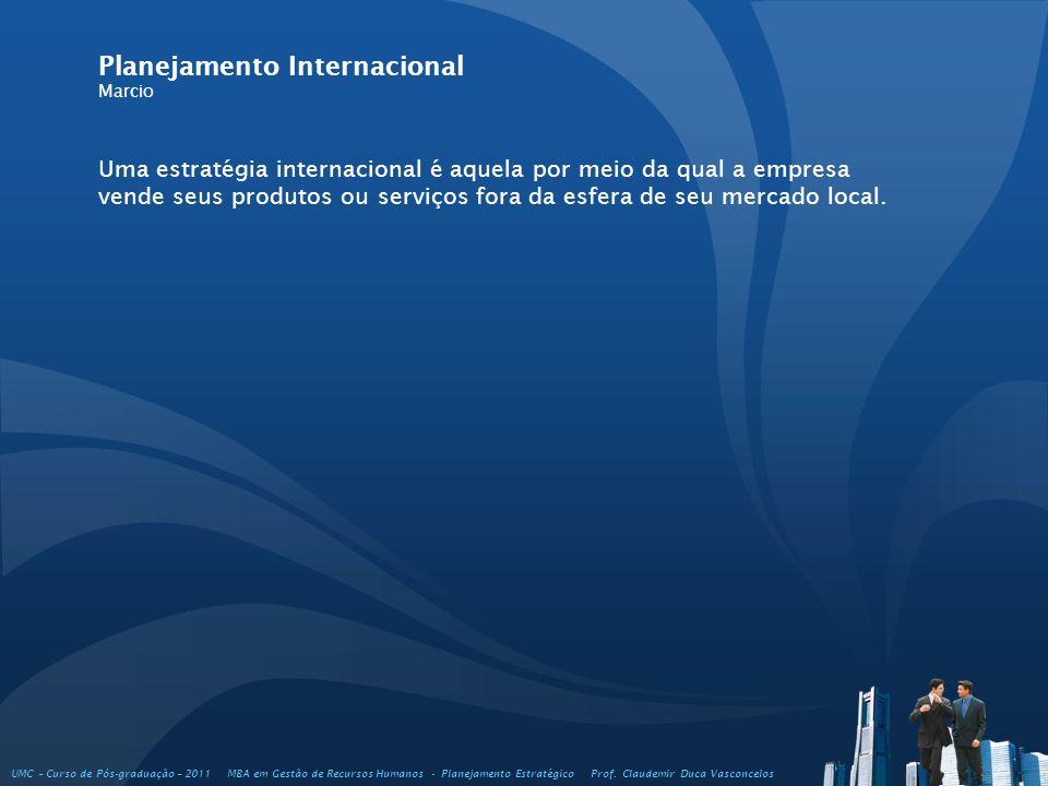 Uma estratégia internacional é aquela por meio da qual a empresa vende seus produtos ou serviços fora da esfera de seu mercado local. Planejamento Int