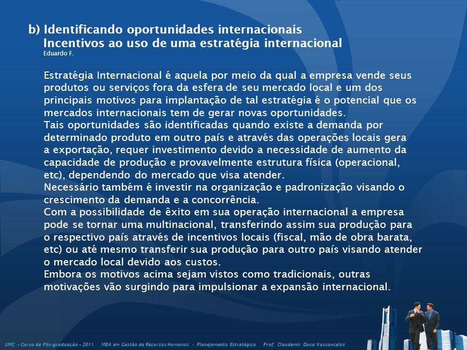 b) Identificando oportunidades internacionais Incentivos ao uso de uma estratégia internacional Eduardo F. UMC – Curso de Pós-graduação – 2011 MBA em