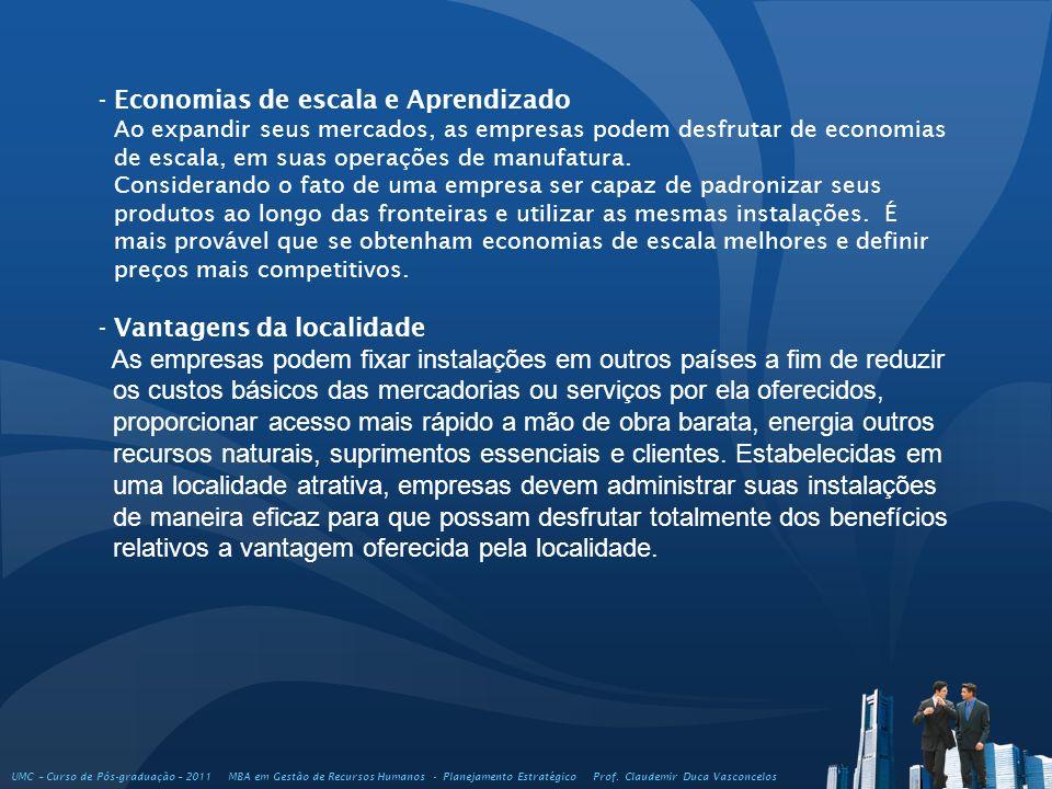 UMC – Curso de Pós-graduação – 2011 MBA em Gestão de Recursos Humanos - Planejamento Estratégico Prof. Claudemir Duca Vasconcelos - Economias de escal