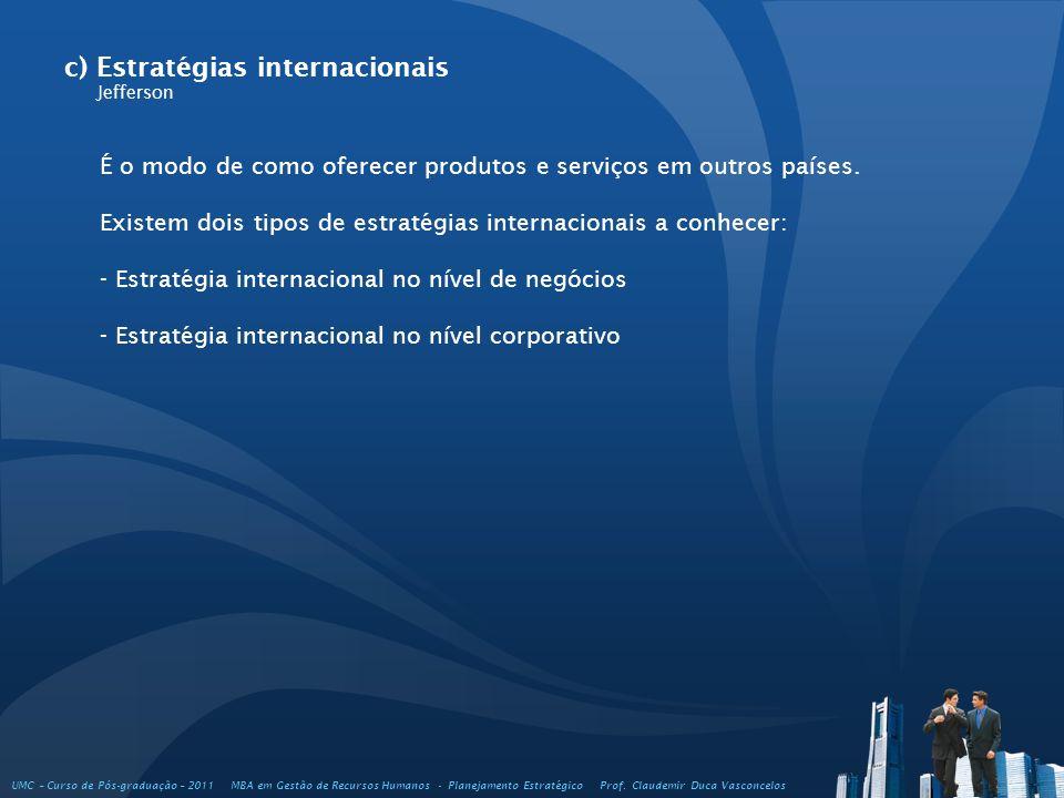 c) Estratégias internacionais Jefferson É o modo de como oferecer produtos e serviços em outros países. Existem dois tipos de estratégias internaciona