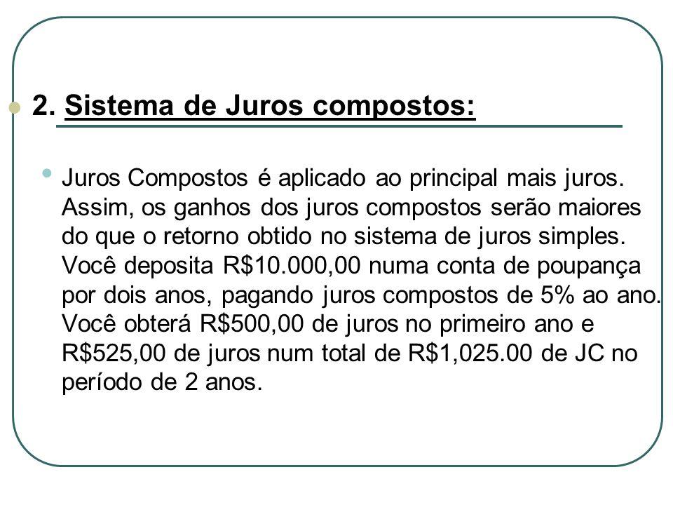 2.Sistema de Juros compostos: Juros Compostos é aplicado ao principal mais juros.