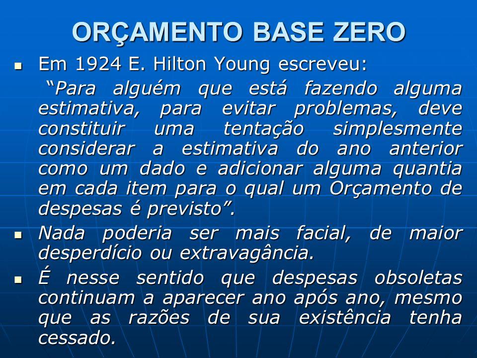 ORÇAMENTO BASE ZERO Em 1924 E. Hilton Young escreveu: Em 1924 E. Hilton Young escreveu: Para alguém que está fazendo alguma estimativa, para evitar pr