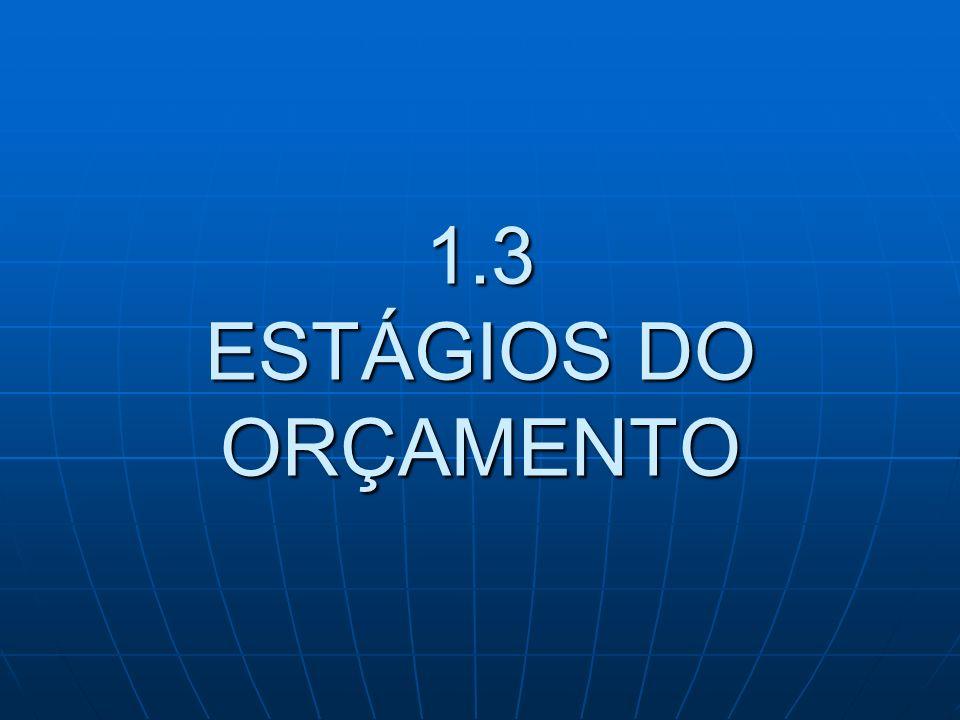 1.3 ESTÁGIOS DO ORÇAMENTO