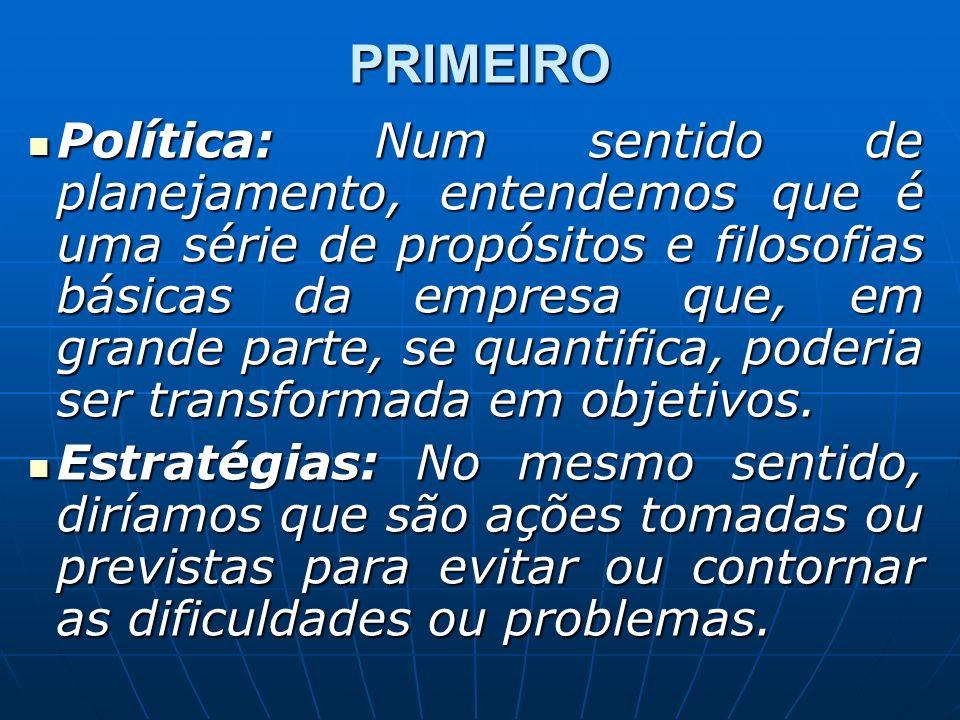 PRIMEIRO Política: Num sentido de planejamento, entendemos que é uma série de propósitos e filosofias básicas da empresa que, em grande parte, se quantifica, poderia ser transformada em objetivos.