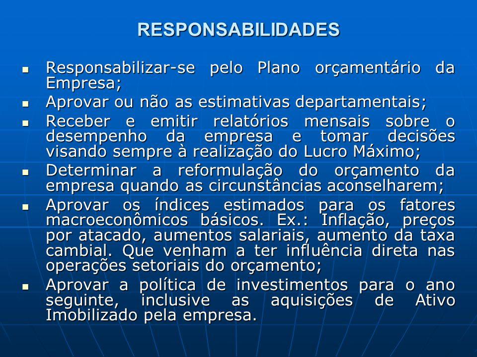 RESPONSABILIDADES Responsabilizar-se pelo Plano orçamentário da Empresa; Responsabilizar-se pelo Plano orçamentário da Empresa; Aprovar ou não as esti