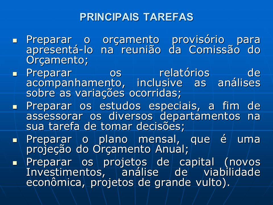 PRINCIPAIS TAREFAS Preparar o orçamento provisório para apresentá-lo na reunião da Comissão do Orçamento; Preparar o orçamento provisório para apresentá-lo na reunião da Comissão do Orçamento; Preparar os relatórios de acompanhamento, inclusive as análises sobre as variações ocorridas; Preparar os relatórios de acompanhamento, inclusive as análises sobre as variações ocorridas; Preparar os estudos especiais, a fim de assessorar os diversos departamentos na sua tarefa de tomar decisões; Preparar os estudos especiais, a fim de assessorar os diversos departamentos na sua tarefa de tomar decisões; Preparar o plano mensal, que é uma projeção do Orçamento Anual; Preparar o plano mensal, que é uma projeção do Orçamento Anual; Preparar os projetos de capital (novos Investimentos, análise de viabilidade econômica, projetos de grande vulto).