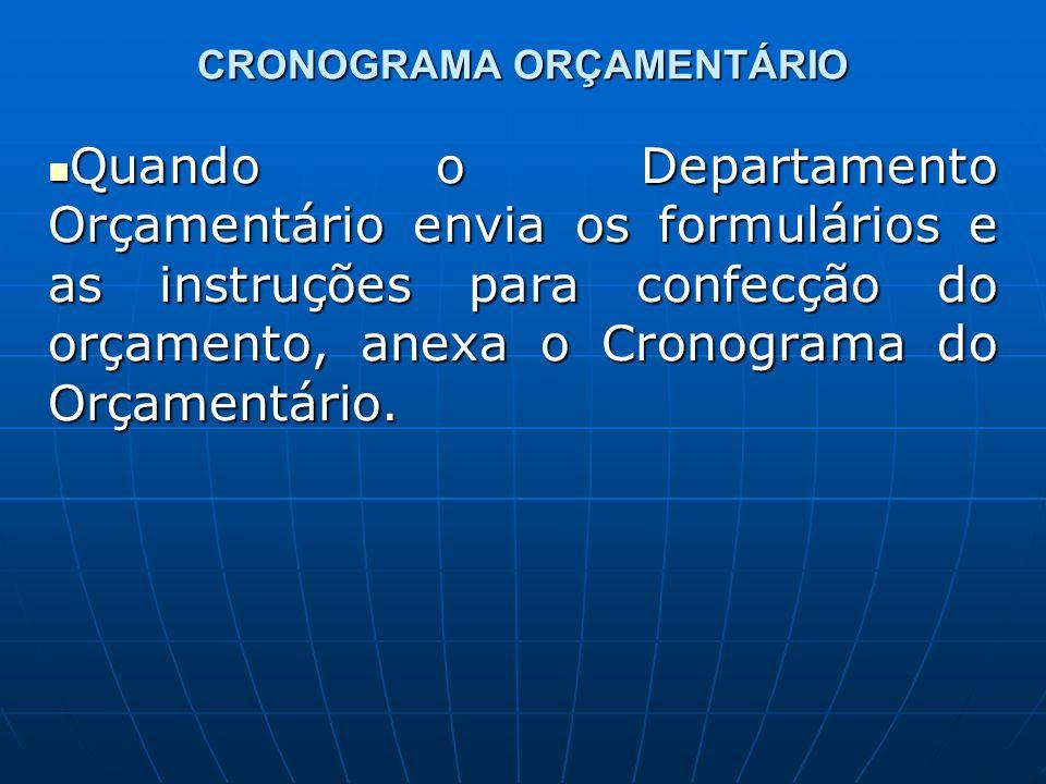 CRONOGRAMA ORÇAMENTÁRIO Quando o Departamento Orçamentário envia os formulários e as instruções para confecção do orçamento, anexa o Cronograma do Orçamentário.